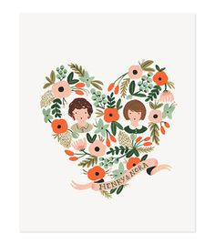 CUSTOM heart portrait print by Rifle Paper Co. Pretty sure this would be the best wedding gift ever!