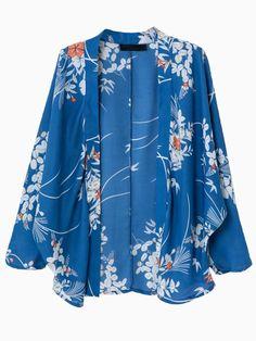 Blue Floral Sunscreen Kimono Coat