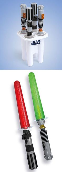 "Lightsaber Ice Pops Freeze any drink into an awesome Lightsaber Ice Pop Each hilt has an LED in it, to light up the ""blade"" Includes: 4 Saber hilts (2 Luke and 2 Vader) Saber ice pop mold tray"