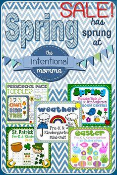 Kindergarten, Pre-K, Preschool morning work for Spring! Huge sale on printable units and worksheets on TPT! Stock up and save!