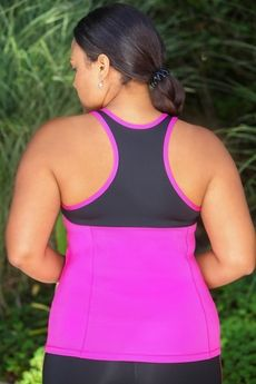 Women's Plus Size Activewear - Always For Me Active Micro Poly Color Block Racer Tank