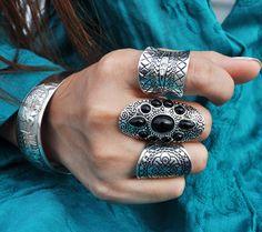 Boho Black and Silver Rings