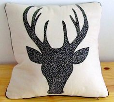 Standard 45x45cm scatter cushion cover made from natural bull denim with stag head silhouette applique