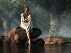Testing The Water Art Print featuring the digital art Testing The Waters by Daniel Eskridge