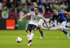 Mesut Oezil scores from a penalty kick // Euro 2012 Penalty Kick, Euro 2012, Scores, Kicks