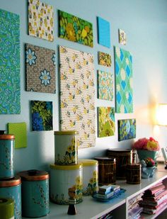 Top 10 Best DIY Wall Decor.  Fabric covered foam