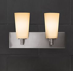 Rh S Spritz Double Sconce Our Spritz Collection Is Sleek And Spare Yet Spectacular Bathroom Lighting Restoration Hardware