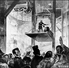 1853. Elisha Otis hoisting on his elevator platform to present to the crowd his invention of a safety elevator. He invited an axe- bearing assistent to cut the cable suspending the open elevator on which he stood. The platform jerked slighty, the crowds gasped, nothing else happened. The Safety Elevator had arrived. Skyscrapers could begin scraping.