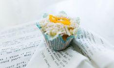 Saffron Cupcakes with Orange Peel Frosting