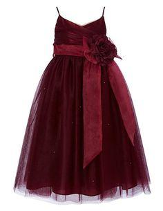 Cdress Straps Tulle Flower Girl Dress Junior Bridesmaids Dress Kids Toddler Gowns Burgundy US 4