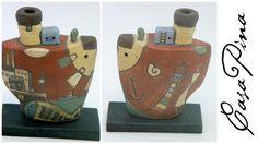Barco constructivo en cerámica esgrafiada pintada a mano. Montevideo, Uruguay. Siglo 21. Preguntar el Precio ~ Price Upon Request.
