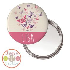 Flutterby Butterfly Compact Mirror - Personalised