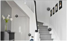 Grey painted runner, black handrail - Originally seen on Flügger. Entry Stairs, Entry Hall, Entry Doors, Painted Stairs, Stairway To Heaven, Grey Paint, Home Bedroom, Stairways, Architecture