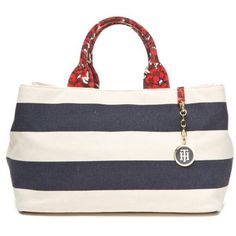 Tommy Hilfiger Navynatural Jolene Canvas Shopper ($74) ❤ liked on Polyvore featuring bags, handbags, tote bags, white purse, floral tote, tommy hilfiger tote bag, canvas shopping tote and white canvas tote