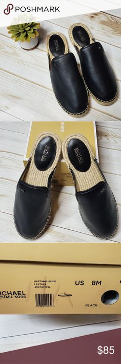 be9f9e103 BRAND NEW Michael Kors Hastings Leather Slides 8 These are brand new in box  Michael Kors