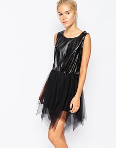 Image 1 ofNavy London Skater Dress In Faux Leather And Tulle