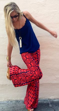 Seeing more and more women of all ages wearing these flowy, wildy patterned slacks here in Southern CA during our 'winter' months early 2014. Everyone seems to look great in them!