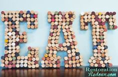 How to make recycled wine cork letters