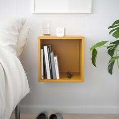 EKET Wall-mounted shelving unit - golden brown - IKEA - wall mounted nightstand without door Ikea Eket, Bedside Shelf, A Shelf, Flexible Furniture, Personal Storage, Wall Mounted Shelves, Ikea Wall Shelves, Shelves For Bedroom, Headboard With Shelves