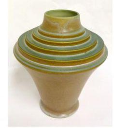 Frank Ferrell The Torch Vase Roseville Futura Art Deco Pottery Sculpture, Pottery Art, Chandeliers, Art Deco Table, French Art Deco, Urn Vase, Roseville Pottery, Vintage Pottery, Ceramic Artists