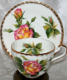 Paragon England Tea Cup and Saucer HPT Perfect Rose Heavy Brushed Gold