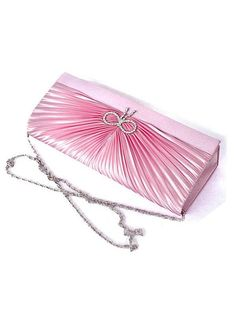 In Stock Lovely Pink Satin /  Silk Shell With Austrian stones Evening Handbags /  Clutches