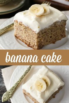 Banana Cake - Sweet, dense and packed full of flavour. The cream cheese icing is the perfect complement.