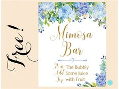 FREE Mimosa Bar Sign Hydrangea and Gold | Printabell • Express