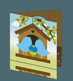 Seizoen geboortekaartje jongen met broer in vogelnestje geboortekaartjes voor een zoon