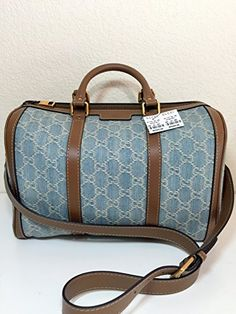 Gucci Blue Vintage Web Gg Denim Boston Bag - Handbag