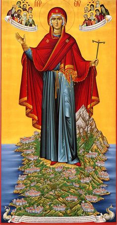 Icon of Panagia of the Holy Mountain, Mount Athos Byzantine Icons Religious Images, Religious Icons, Religious Art, Orthodox Catholic, Orthodox Christianity, Byzantine Icons, Byzantine Art, Blessed Mother Mary, Blessed Virgin Mary
