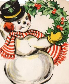 Vintage Snowman With Wreath