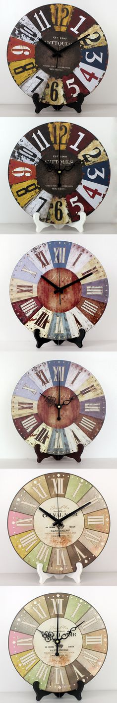 "Large Multi Color 23/"" WALL CLOCK Tuscan BISTRO FRENCH COUNTRY Wood Iron"