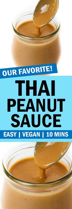BEST Thai Peanut Sauce! The flavor is amazing and SO EASY to make! Only 10 minutes and 6 ingredients. And super versatile!! #vegan