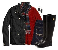 """""""J.Crew field jacket & cable knit sweater with tartan scarf"""" by steffiestaffie ❤ liked on Polyvore featuring J.Crew, Abercrombie & Fitch, Kendra Scott and Tory Burch"""