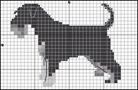 Miniature Schnauzer Dog, Black and Silver Free Cross Stitch / Knitting Pattern Cross Stitch Charts, Cross Stitch Embroidery, Cross Stitch Patterns, Knitting Charts, Knitting Patterns, Miniature Schnauzer, Schnauzer Dogs, Fair Isle Chart, Daisy Dog