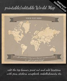 Free printable family travel maps creative pinterest travel free customizable world travel map a great way to print frame family adventures usa canada europe maps also available gumiabroncs Gallery