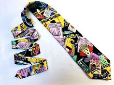 Vtg 1991 NICOLE MILLER Necktie / NYC Shopping Print / Unique Colorful Novelty Ties / Hand Sewn Silk Tie / Suit Accessories / Gifts for Him / Taxi Cab and Shopping Print / Madison Ave Print / Conversation Tie / Funny Necktie / Loud Vibrant Print / Accent Tie / Vintage Neck Tie  DETAILS! Label: Nicole Miller Era: Early 1990s Colors: Rainbow Materials: 100% Silk  CONDITION! Excellent  --- Like/Follow me across the web for updates, ...