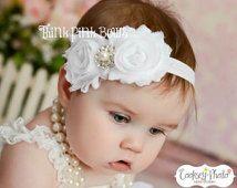 Bebé diadema, blanco venda, venda de bautizo, bautismo venda, recién venda, venda, venda shabby chic, Arcos Bebé niña. (3)