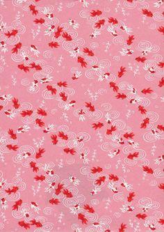 Pink Goldfish Japanese Yuzen Chiyogami Washi Paper Sheet 23 x 15 cm (9 x 6 inches) via Etsy