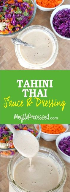 This Tahini Thai Sauce/Dressing is oil-free, sugar-free and nut-free! I love it on everything from noodles, to stir-fry to a fresh salad. It's very similar to a peanut thai sauce, but without all the unhealthy ingredients!