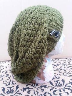 Olive Green Crochet Slouchy Hat Women Teen Girl Men by LadyLynelle