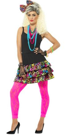 80s Fancy Dress Party Girl Kit Instant Costume - Skirt, Necklace and Headpiece #costumeSmiffysaccessoriesvariousuksuppliers #Dress