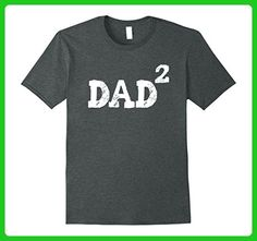 Mens Dad of Two 2 Kids Shirt Funny Fathers Day Baby Shower Gift XL Dark Heather - Holiday and seasonal shirts (*Amazon Partner-Link)