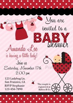 Ladybug Baby Shower Invitation, Printable Invite | printpartyfun - Cards on ArtFire