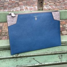 Mens custom zipper pouch in navy calf and grey alligator complete. by atelierpeternitz