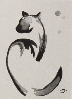 on ebay: abstract black cat ACEO original mini watercolor painting art ...