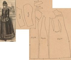 Der Bazar 1886: Wintertime coat from plush with biever fur trimming (add wadding and atlas lining); 30. front part, 31. side gore, 32. back part in half size, 33. and 34. cuff and collar in half sizes, 35. and 36. sleeve parts