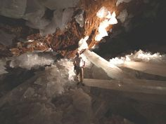 Giant Crystal Cave THIS IS IN MEXICO NEAR THE CAPITAL IF I RECALL.  THE VOLCANIC HEAT ALONG WITH THE HUMIDITY HAS CREATED HUGE CRYSTALS.  THERE ARE AMETHYSTS OVER 7 STORIES TALL!!!!  WHAT A HECK OF A NECKLACE!!!!