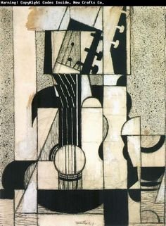 Still Life with Guitar, 1920. Gris began to paint seriously in 1911 (when he gave up working as a satirical cartoonist), developing at this time a personal Cubist style.